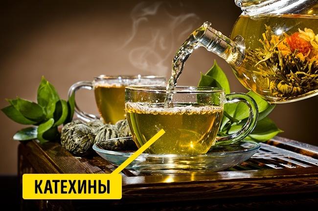 © depositphotos.com  Зеленый чай богат антиоксидантами . Аточнее, катехиновыми соединениями.