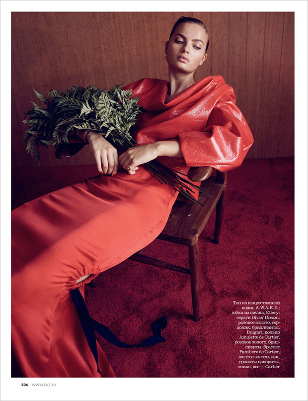 Moa Aberg Models Red FW16 Looks for Elle Russia December 2016 Issue