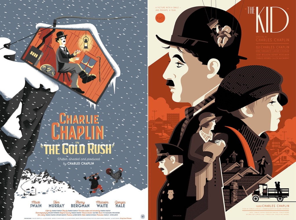 Graphic Illustrated Posters of Famous Charlie Chaplin's Movies