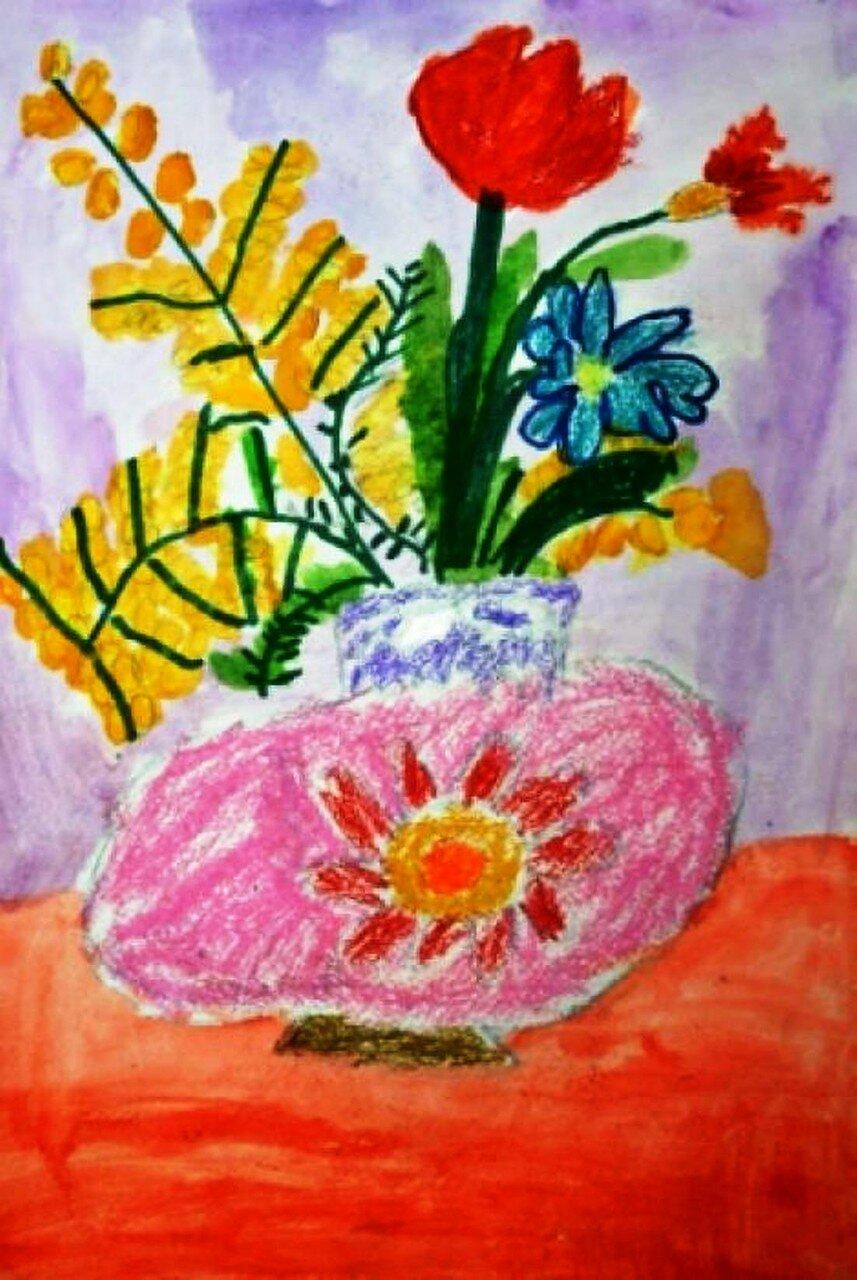 Весенний букет - Рыбакова Люба, 5 лет, Тема -- Рисунок, г. Москва.jpg