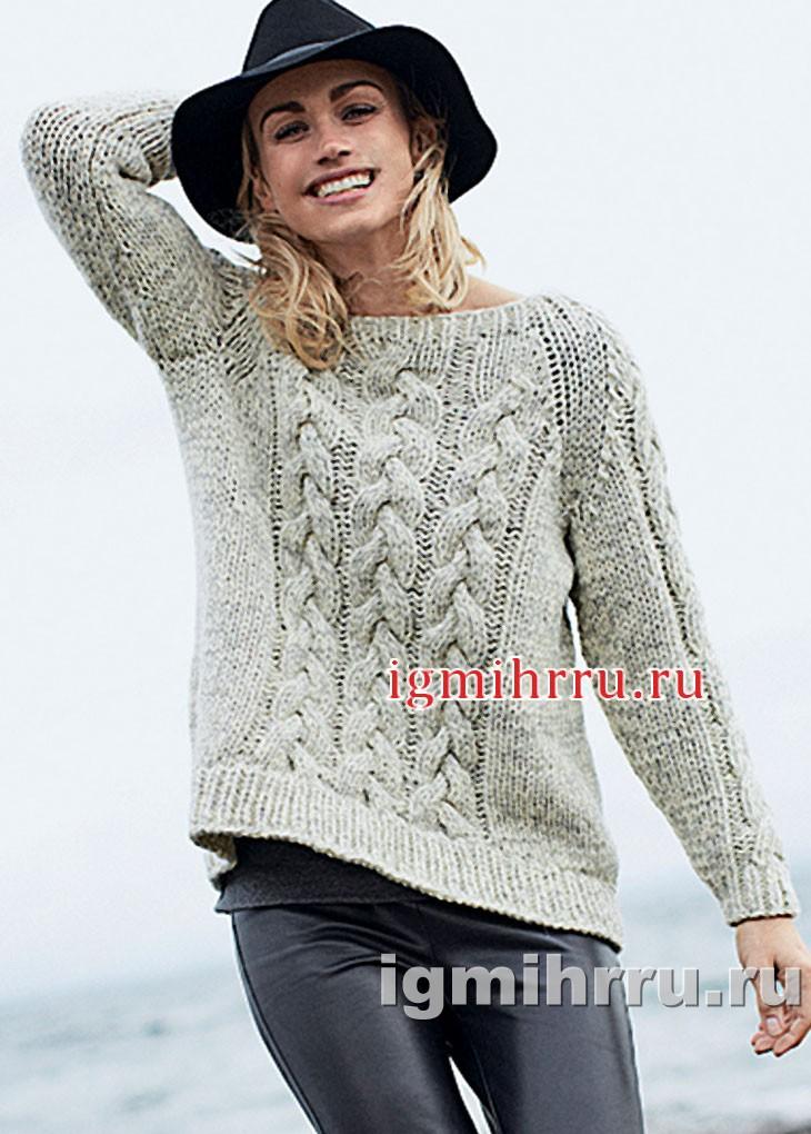 Светлый меланжевый пуловер с косами. Вязание спицами
