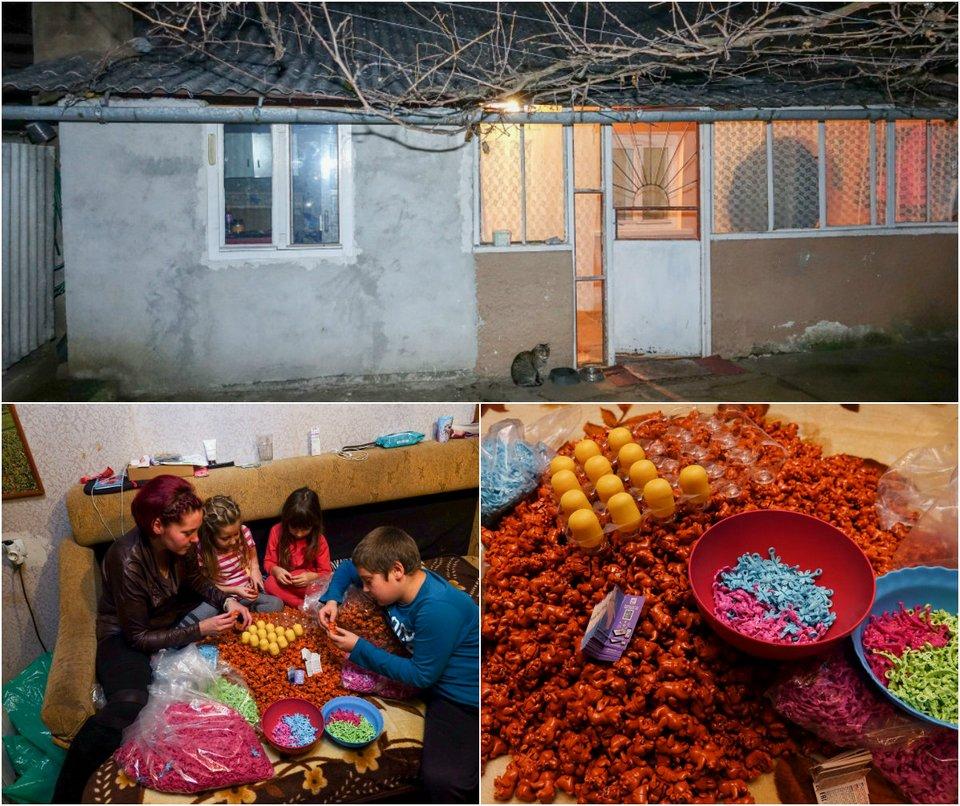 Румынская семья без устали засовывает игрушки в шоколадные яйца