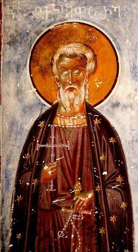Святые мученики Онисифор и Порфирий. Фрески собора Христа Спасителя в Цаленджихе, Грузия. Конец XIV века.