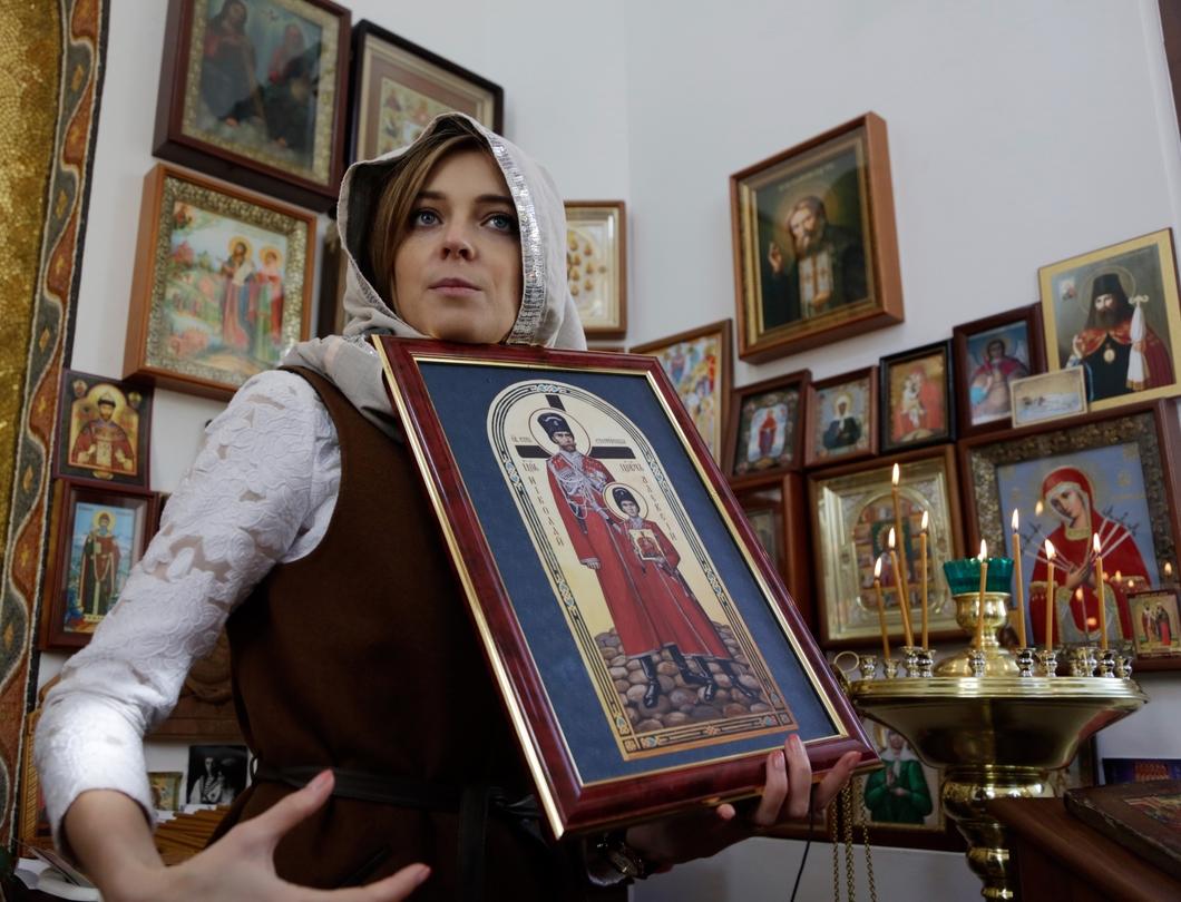 Наталья Поклонская на открытии часовни в честь святых царственных страстотерпцев государя Николая II в Симферополе