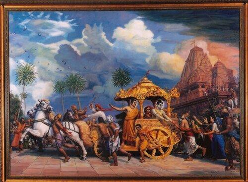 Кришна уезжает в Матхуру, и гопи Его просят остаться
