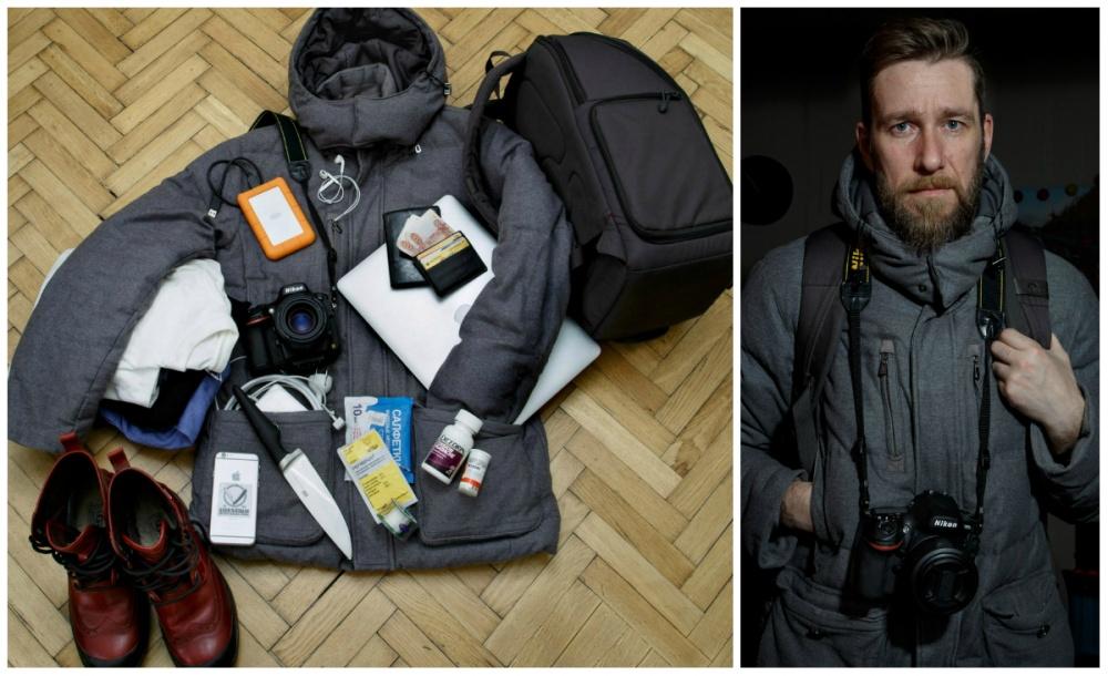 © Ekaterina Sahakyan  Компьютер, жесткий диск, фотоаппарат, телефон, зарядные устройства, пасп