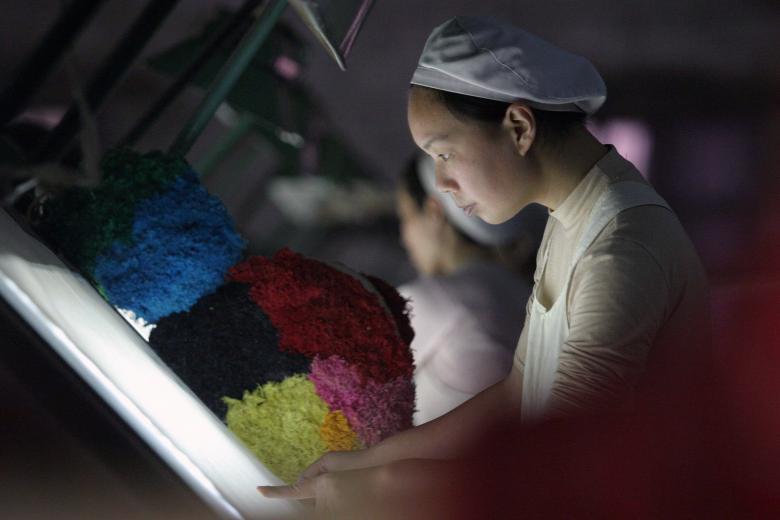 Текстильная фабрика в Хуайбэе в провинции Аньхой.