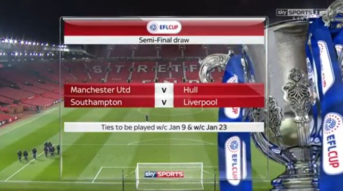 Вполуфинале Кубка британской Лиги «МЮ» сыграет с«Халлом», «Саутгемптон»— с«Ливерпулем»
