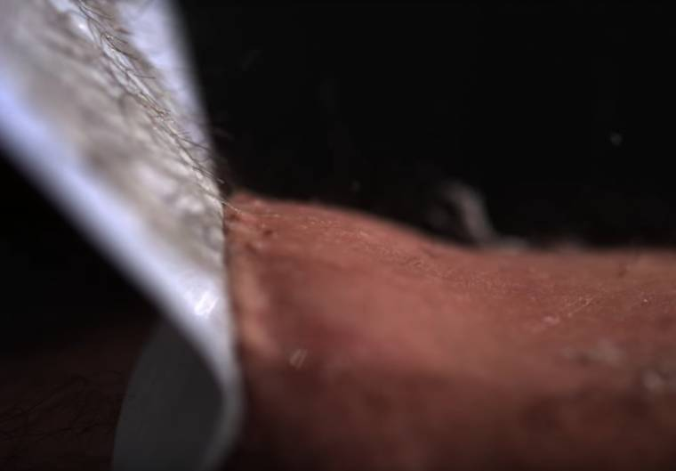 Leg waxing in slow motion is a pretty painful thing to watch