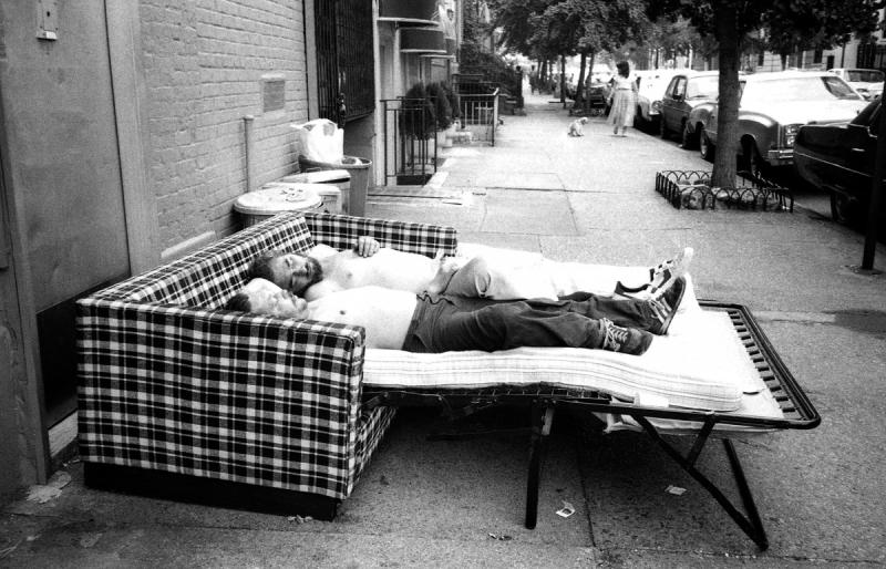 Homeless men sleeping on an abandoned cot in the West Village, 1984 Boretz has always been dr