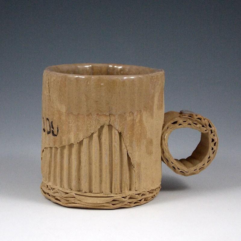 Ceramic Mugs That Imitate Used Cardboard by Artist Tim Kowalczyk