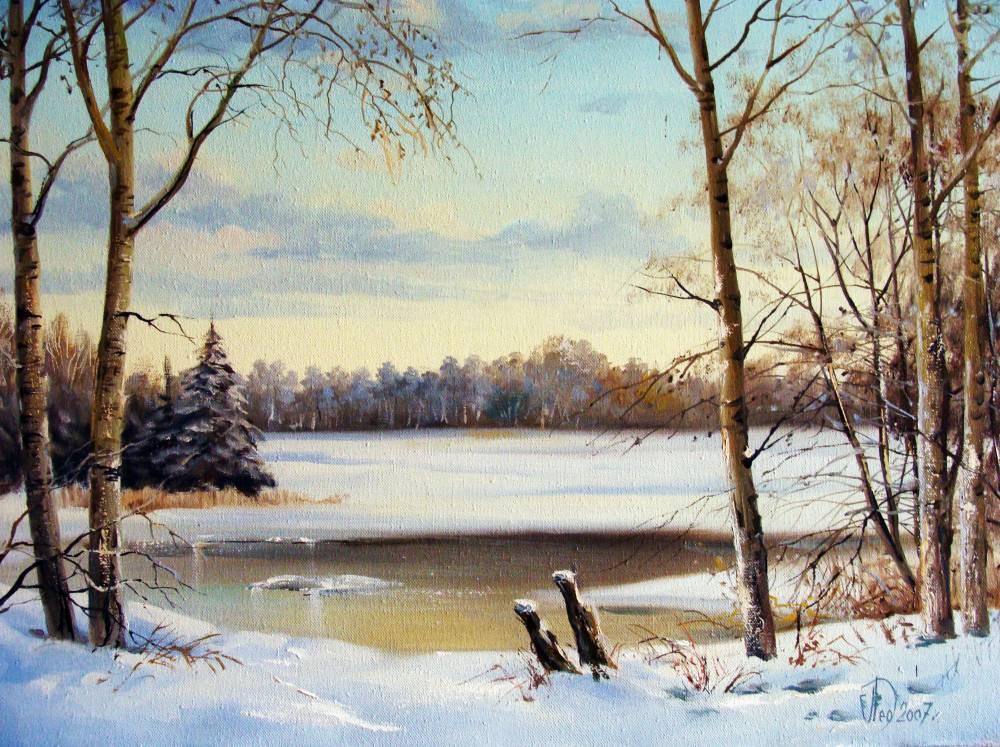 Леднев Александр Алексеевич . Замерзшая река..jpg