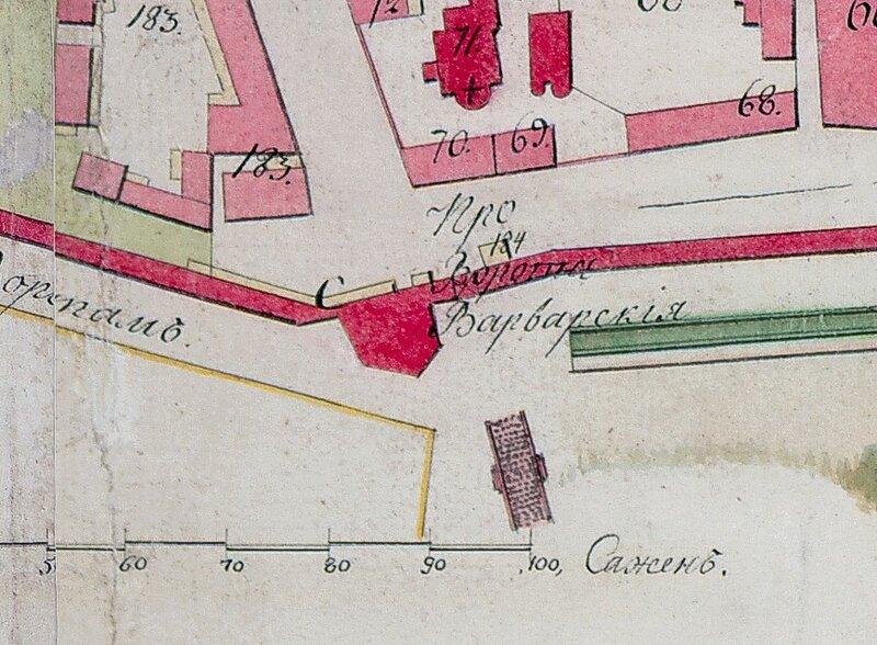 Варваринский мостик через ров. План 1803 года