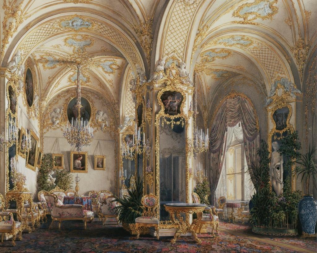 Гостиная в стиле рококо с амурами.