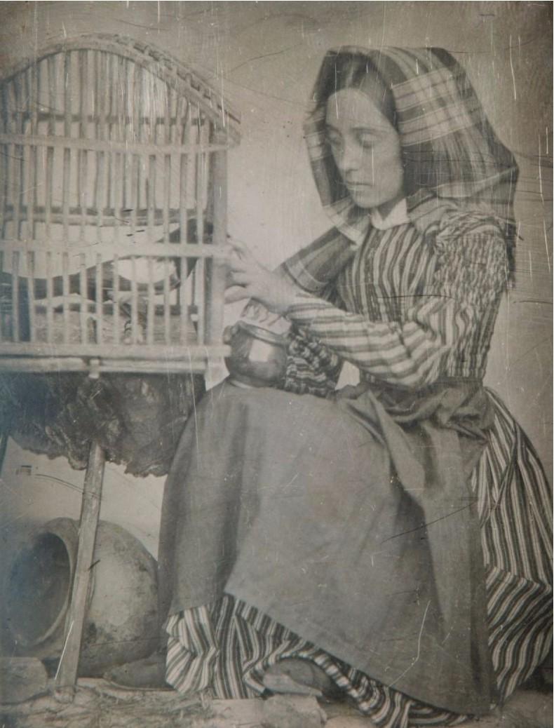 1846. Портрет Луизы-Мари-Жюли Молар кормящей сороку в клетке
