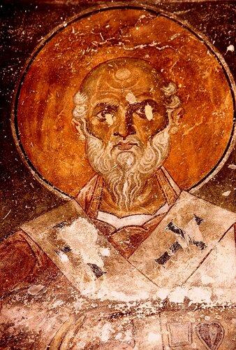 Святой Преподобный Нифонт, Епископ Кипрский. Фреска церкви Богородицы Елеусы в Велюсе, Македония. После 1080 года.