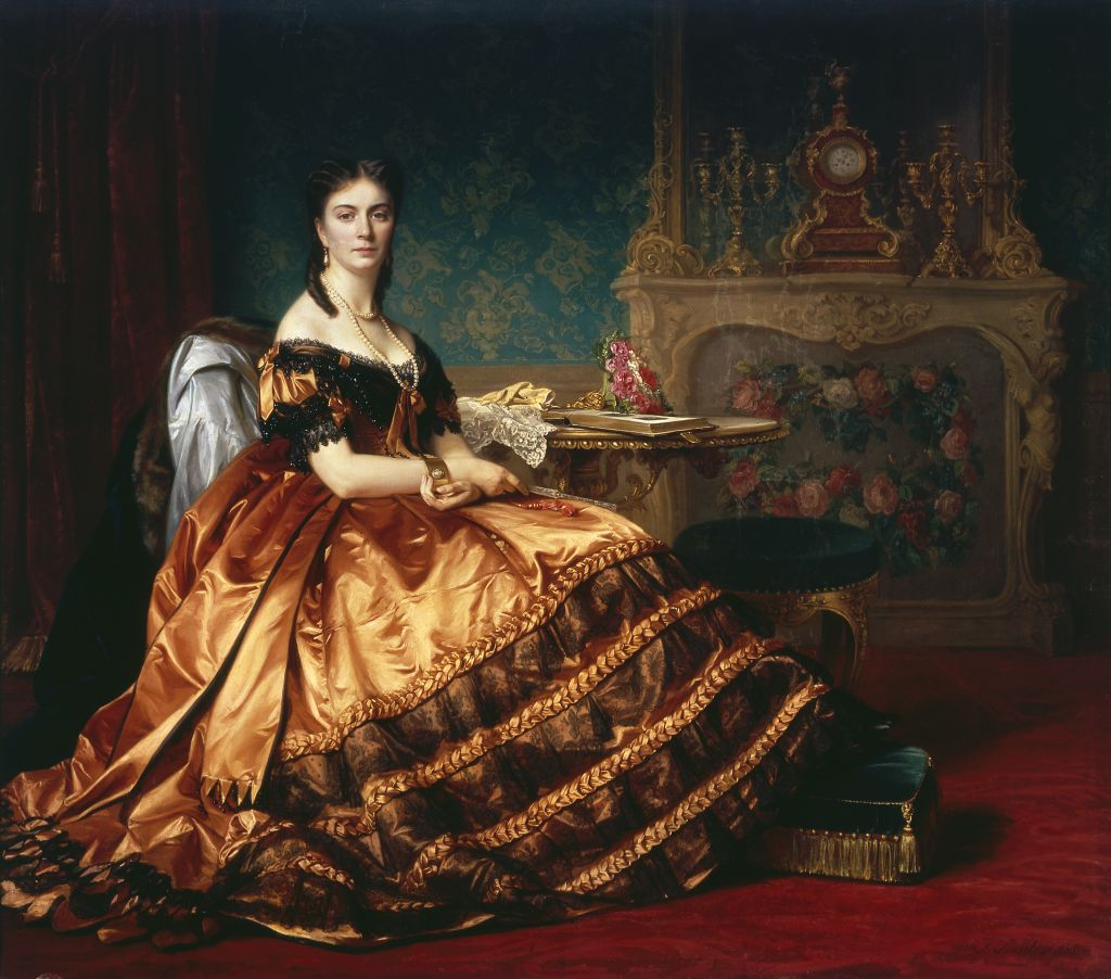 """Portrait of Emilia Wlodkowska"" (1865) by Józef Simmler (Polish,1823-1868), oil on canvas, 175 x 202 cm, National Museum, Warsaw."