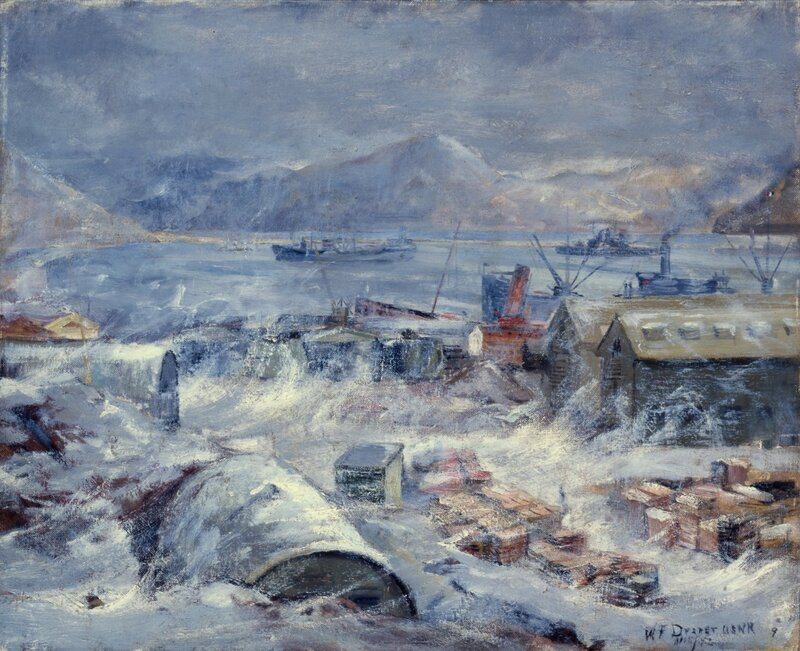 William F. Draper - Blizzard (1942) Savage arctic storms often swept down on Dutch Harbor, striking buildings with a wind nearing 100 miles an hour.