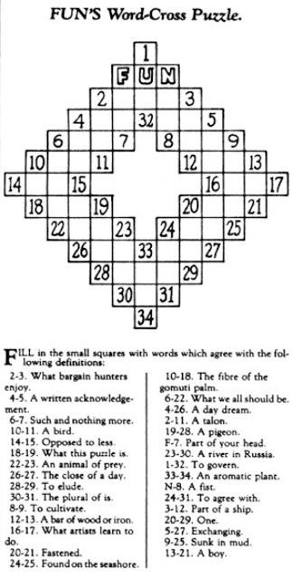 Первый кроссворд, 1913 год Артур Винн должен был придумывать развлечения для восьмистраничного разде