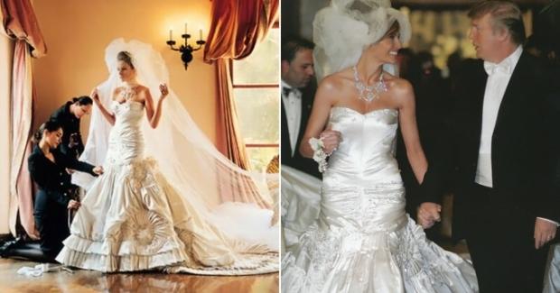 Свадьба Мелании и Дональда Трампа в 2005 году  Именно в этом платье Christian Dior Мелания по