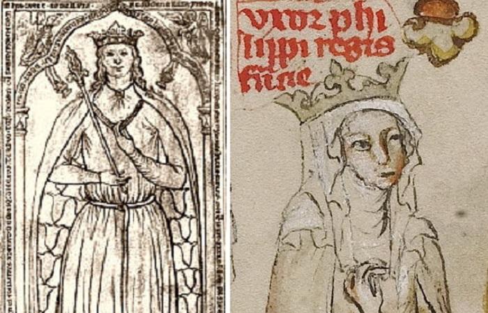 Изображения принцессы Ингеборги и Агнессы Меранской. Король требовал от епископов расторжения брака,