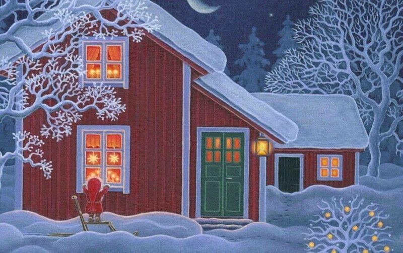Ева Мелхьюш: рождественские новогодние иллюстрации