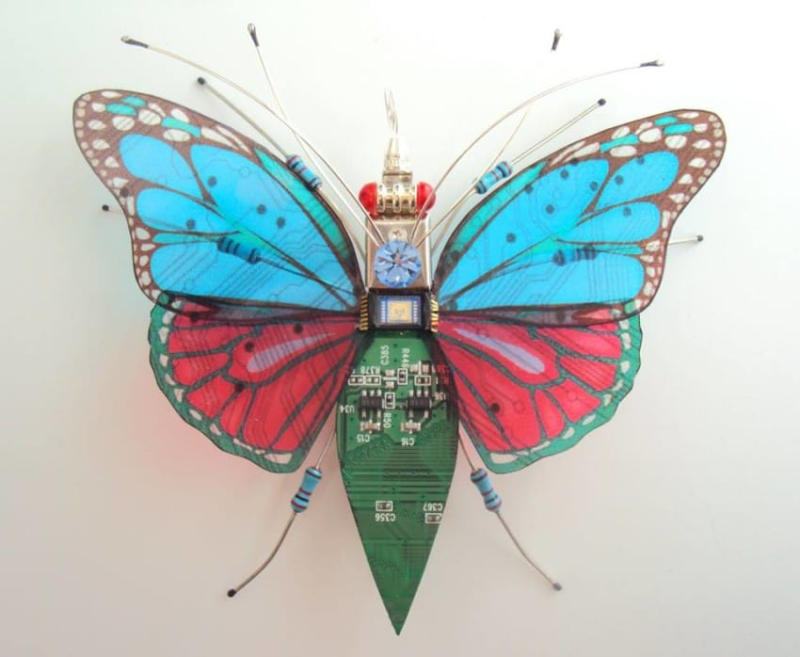 Everything you see on each sculpture comes from an electronic device that has been cut and shape