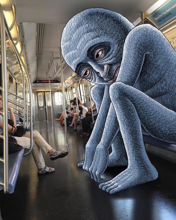 Artista desenha criaturas fantasticas que interagem com as pessoas no metro de Nova Iorque