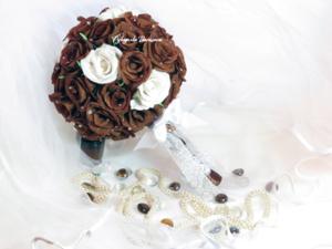 букет невесты, свадебный букет из бумажных роз, ручная работа, handmade, handwork, свадебная флористика