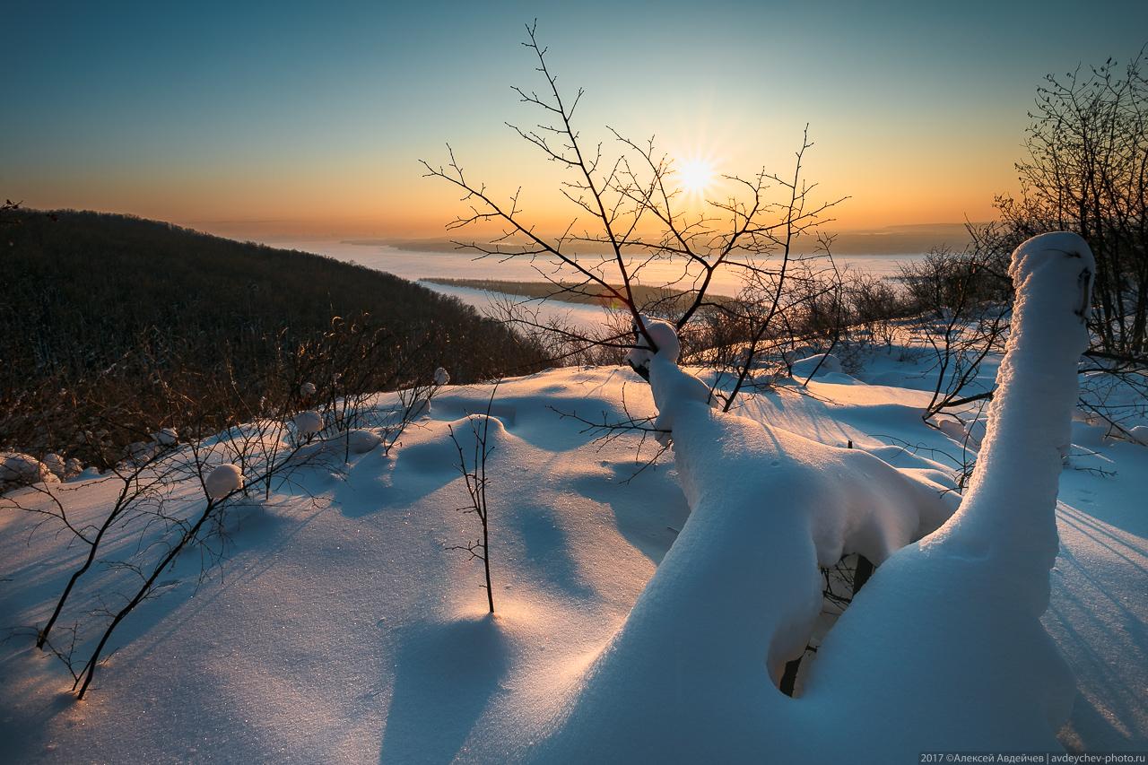 Зимние виды с горы Барсук (Самарская область)