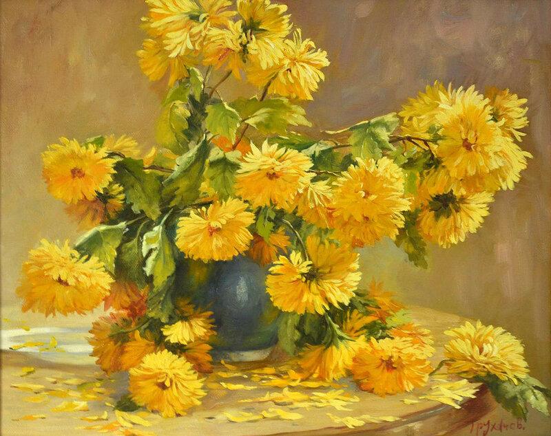 желтые цветы в картинах художников всех видов шакалов