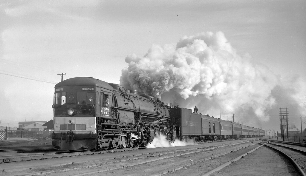 Southern Pacific train, engine number 4274, engine type 4-8-8-2. Calif-Nevada R.R. Historical Society excursion, leaving Reno, Nev., December 1, 1957.