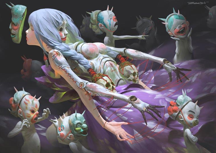 Disguise - Les illustrations sombres et fascinantes de ZeenChin