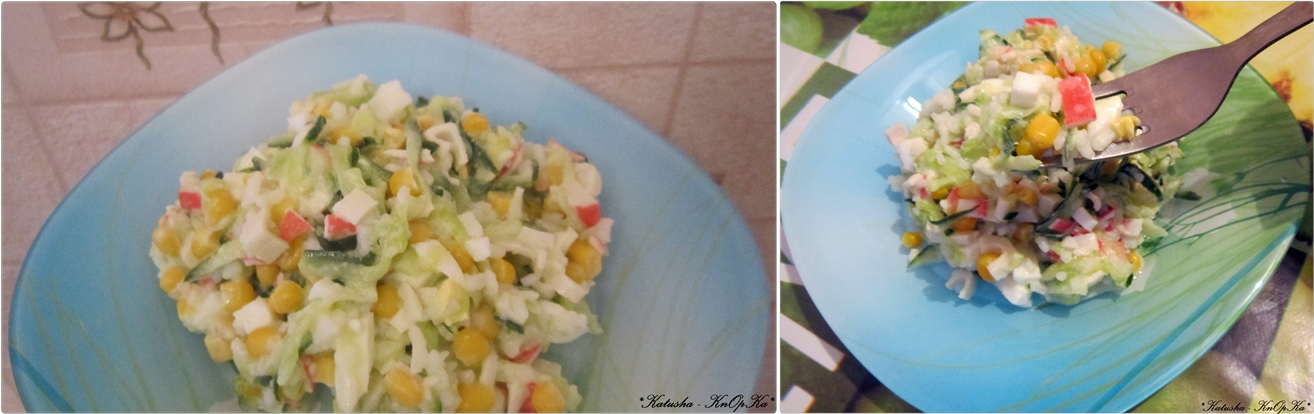 Салат пекинская капуста крабовые палочки кукуруза сыр