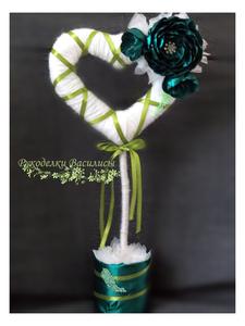 цветы из атласных лент, топиарий, творчество, ручная работа, рукоделки василисы, handmade, handwork, дерево счастья, европейское дерево, интерьерная композиция, оформление подарка, подарки, розы из атласных лент