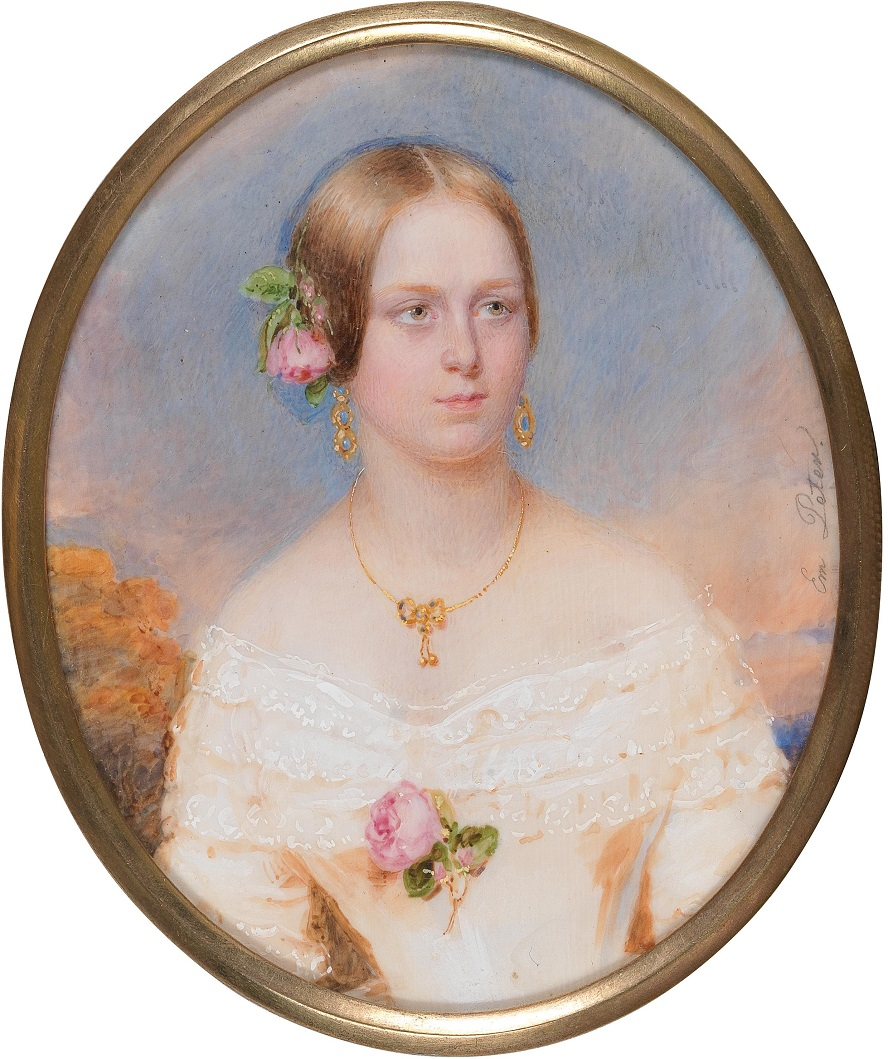 A portrait of a young girl in white ruched dress, with a rose in her hair, against a landscape backdrop