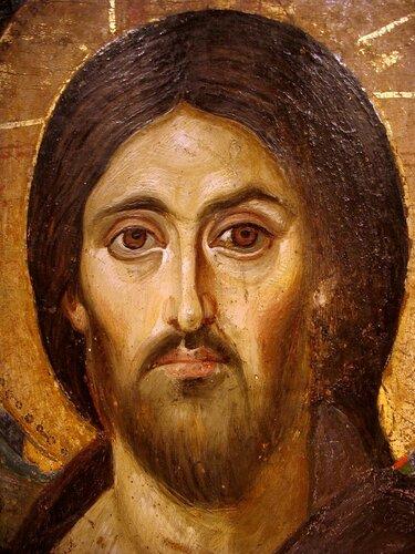 Христос Пантократор (Вседержитель). Икона. Византия, VI век. Монастырь Святой Екатерины на Синае. Фрагменты.