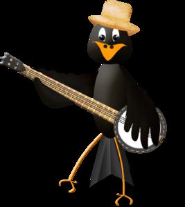грач играет на гитаре