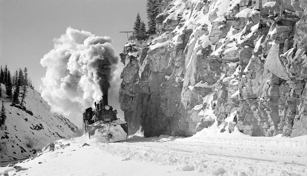 Rio Grande Southern narrow gauge locomotive, engine number 461, engine type 2-8-2.  Ophir, Colorado, November 19, 1951.