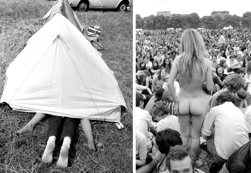 Слева: пара предается свободной любви в палатке, фестиваль Isle of Wight, 1969 год. Справа: обнаженн
