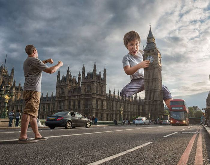 Отец с помощью фотошопа создает удивительные фото