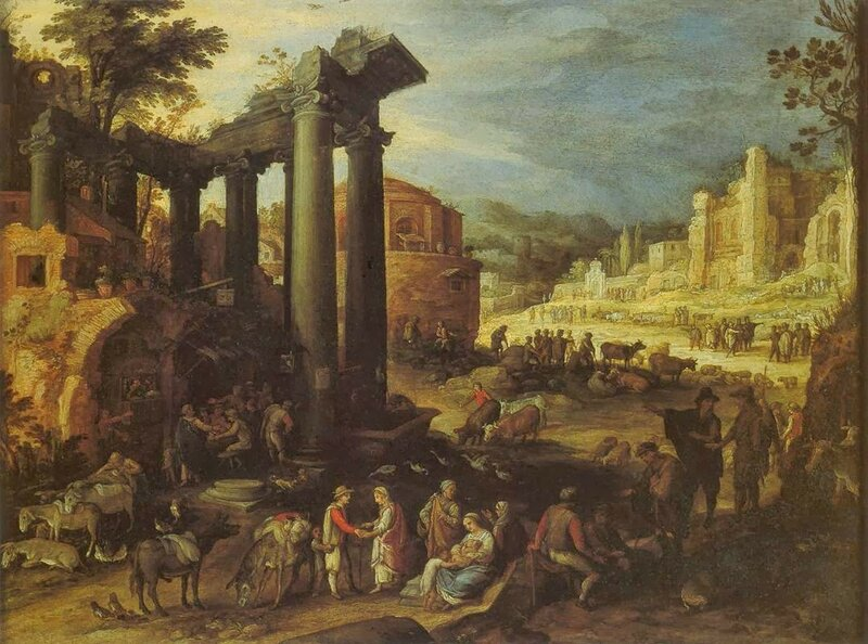 2 Paul_Bril_-_The_Campo_Vaccino_with_a_Gypsy_Woman_Reading_a_Palm_-_WGA3183.jpg