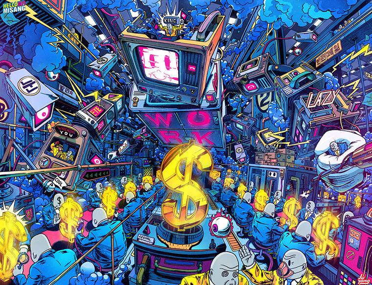 Modern Life - Les illustrations explosives et satiriques de Lee Juyong