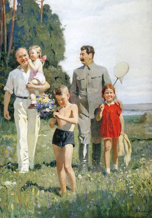 Василий Ефанов. И.В. Сталин и В.М. Молотов с детьми,1947