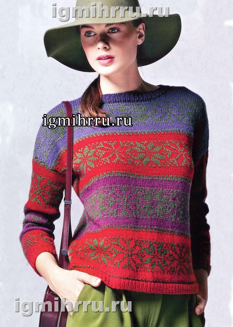 Теплый и мягкий жаккардовый пуловер из шерсти бэби альпака. Вязание спицами