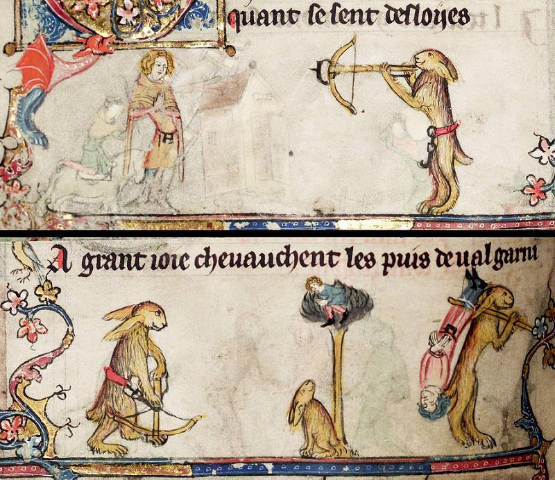 Roman d'Alexandre, Tournai ca. 1338-1344. Bodleian Library, MS. Bodl. 264, fol. 94v.jpg