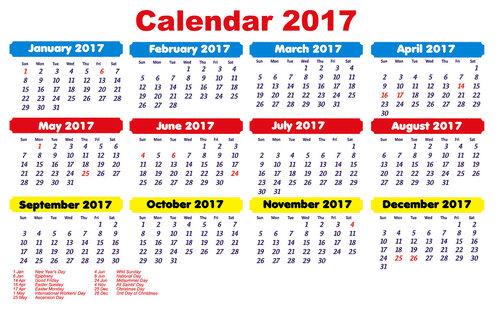 цветной календарь на 17 год