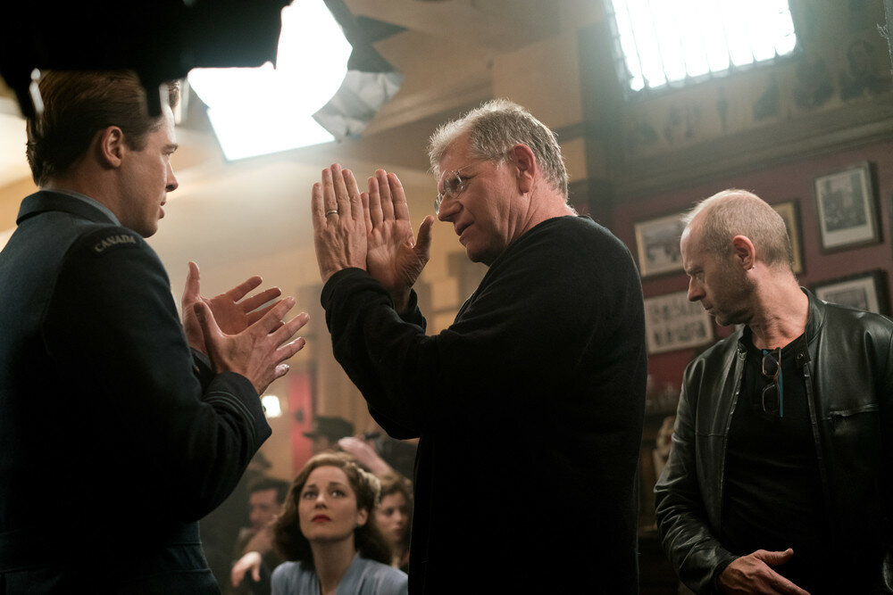 Brad Pitt as Max Vatan, Marion Cotillard as Marianne Beausejour and Director Robert Zemeckis on the set of Allied from Paramount Pictures.