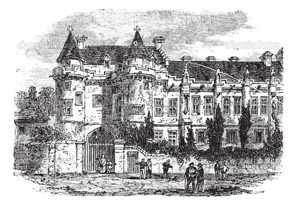 Falkland Palace in Fife, Scotland, United Kingdom, vintage engraving
