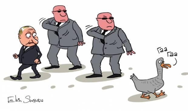 Преступник боится наказания: Испуганного Путина высмеяли в карикатуре